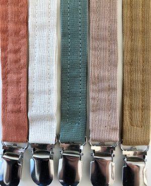 Suttesnor med clips i smukke jordfarver